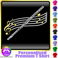 Flute Curved Stave - Personalised Music T Shirt 5yrs-6XL MusicaliTee 2