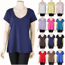 Womens Basic Plus Size V Neck Short Sleeve T Shirt Stretch Casual Solid 1X 2X 3X