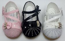 BABY GIRLS FORMAL SUEDE PATENT SHOES FLOWER GIRL DIAMANTE CHRISTENING SHOES