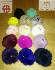 UK Soft REAL Fur Ball Keyring Phone Handbag Car Pendant Pompom 3 FOR 2 Easter