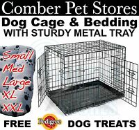 """DOG PET CAGE BED + METAL TRAY + Quilted BEDDING 24"""" 30"""" 36"""" 42"""" 48"""" S M L XL XXL"""