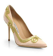 Brand New Authentic Manolo Blahnik Leather Scroll Satin Pumps