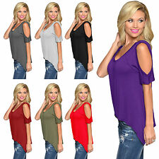 2015 Fashion Women Casual Cold Shoulder Top Short Sleeve Open Shoulder Blouse