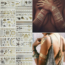 Womens Temporary Flash Tattoos Inspired Body Makeup Sticker Gold Silver Metallic