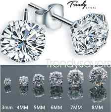 PAIR WOMEN MEN 925 STERLING SILVER CRYSTAL CUBIC ZIRCONIA ROUND STUD EARRINGS