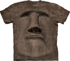 The Mountain Easter Island Face T-Shirt - Brown Short Sleeve Graphic Tee