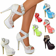 Womens Floral Lace Neon Coloured Shoes Platform Stiletto Heel Peep Toe SEXY Size