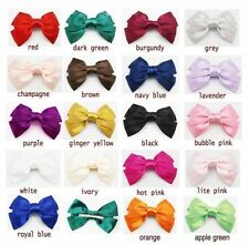 "5.7"" Big Large Hair Satin Fabric Bow Hair Clips Boutique Head wear Piece"