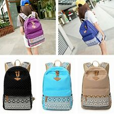 New Ladies Girls Canvas Vintage Backpack Rucksack College Shoulder School Bag UK