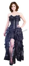 Gothic Steampunk Black Lace S-2XL Corset Victorian Bridal Skirt Party SCW A2539