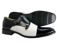Men's Dress Shoes Majestic Black White Monk Strap Slip On Loafers Italian Style