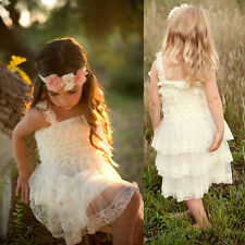 2015 Lace Tulle TUTU Flower Girl Dress Wedding Easter Junior Bridesmaid Dress