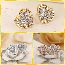Exquisite letter heart shape women fashion crystal High Quality Studs earring US
