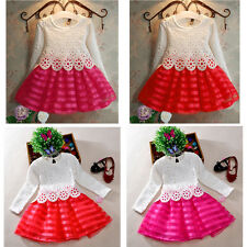 Fashion Toddler Baby Kid Girls Princess Pageant Party Tutu Lace Flower Dress New