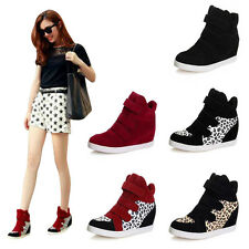 Trendy Women Velcro Strap Hidden Heel High Top Sneakers Ankle Wedge Shoes Boots