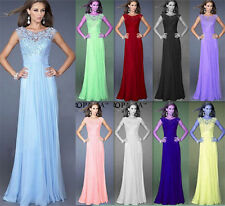 Women Long Lace Chiffon Evening Formal Party Cocktail Dress Bridesmaid Prom Gown