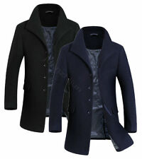 New Mens Overcoat Wool Coat Trench Jacket Outerwear Black Navy Blue