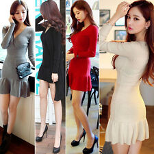Korean Sexy Women's Bodycon long sleeve Cocktail Club Knit Mini Sweater Dress