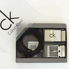 Calvin Klein Belt classic NEW Men`s Belt and 2 Buckle Set 100% Cow Leather Boxed