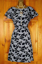 NEW WHITE STUFF GREY BLACK BIRD PRINT VINTAGE STYLE TUNIC TEA DRESS UK 8-18