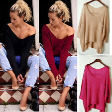 Sexy Womens Ladies Long Sleeve Knit Knitted Sweater Jumper Top Pullover Tee 6-14
