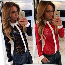 Sexy Womens Lapel Blouse Long Sleeve Ladies Top T shirt Loose Lace Tops UK 6-12