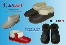 Women's Luxury Slippers, made of genuine leather & sheep wool