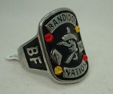 BANDIDOS NATION MC BFFB RING STAINLESS STEEL 316L Statement Biker 1%er Crystals