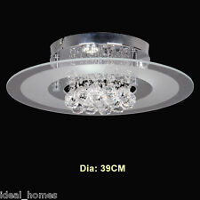 Round LED Clear Crystal Flush Mount Ceiling Lights Chandelier Lamp Shade Chrome