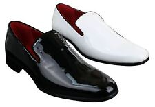 Mens Slip On Patent Shiny Driving Loafers Shoes Leather Smart Casual White Black
