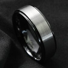 8mm Black Brushed Titanium Color Tungsten ring Wedding Band Ring Men's Jewelry