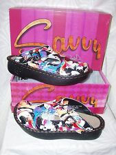 """Savvy""~'Black Splatter' Nursing/Occupational Skid Resistant Clogs/Shoes~NWB*"
