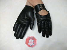 FASHION WOMEN'S BLACK LEATHER DRIVING GLOVES SIZE 7, 7.5, 8