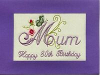 Embroidered Personalised Mum  80th  Birthday Greeting Cards Butterfly and Roses
