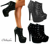 WOMENS BLACK SPIKE STUD HIGH HEEL STILETTO PLATFORM ANKLE BOOTS SHOES SIZE 3-8