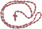 Rope cord red knotted thread rosary beads necklace