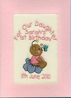 Embroidered Personalised 1st Birthday Greeting Cards Daughter Granddaughter