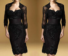 Black Lace Knee Length Mother of the Bride Special Occasion Outfit Free Jacket