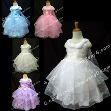 #SP4 Girls Wedding Formal Pageant Gowns Dresses 0 3 6 9 12 18 24 Months 2T 3T 4T