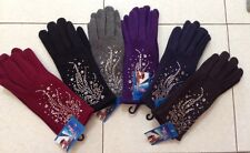 Women's Winter Fleece Soft Gloves w/Rhinestones One Size High Quality