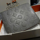 NWT MEN'S COACH Grey OP Art Embossed Signature Leather Bi-fold ID WALLET NEW