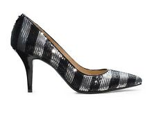 MICHAEL KORS Black & Silver Sequined Striped Point Toe Pumps New