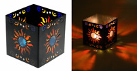 """69002 Square 3"""" Sun Metal Tealight Candle Holder Moon Stars Stained Glass"""