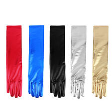 Long Faux Leather Stretch Gloves Bridal Prom Wedding Formal Evening Party SL