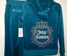 NWT JUICY COUTURE VELOUR HOODIE & BOOTCUT PANTS TRACKSUIT BLUE CORAL Size XS-S-L