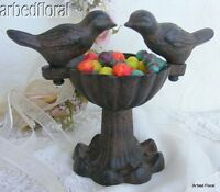 Set/6 Cast Iron Double Bird Feeder ~ Soap Dish  Seeds for Birds ~ Rustic Brown