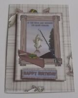 PK 3 HAPPY BIRTHDAY FISHING TOPPER EMBELLISHMENTS FOR CARDS OR CRAFTS