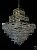SQUARELY CHANDELIER WITH REAL CRYSTALS in GOLD OR SILVER matching wall lights