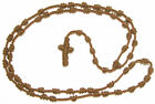 Handmade dark brown knotted thread rosary beads necklace cord rope