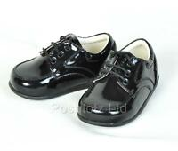 Smart Baby Boys Black Patent Lace Up Shoes Size 1